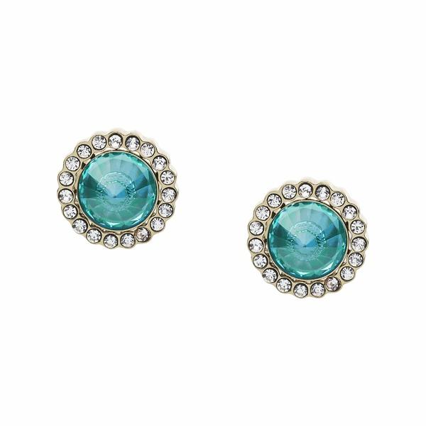 フォッシル レディース ピアス&イヤリング アクセサリー Power of Crystals Stainless Steel Stud Earrings Turquoise