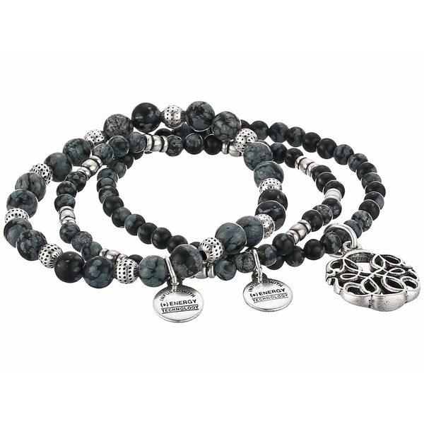 アレックスアンドアニ レディース ブレスレット・バングル・アンクレット アクセサリー Path of Life Set of 3 Stretch Bracelet Silver