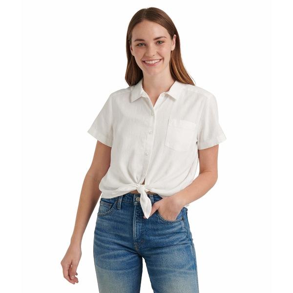 ラッキーブランド レディース シャツ トップス Short Sleeve Button-Up One-Pocket Tie Front Shirt Lucky White