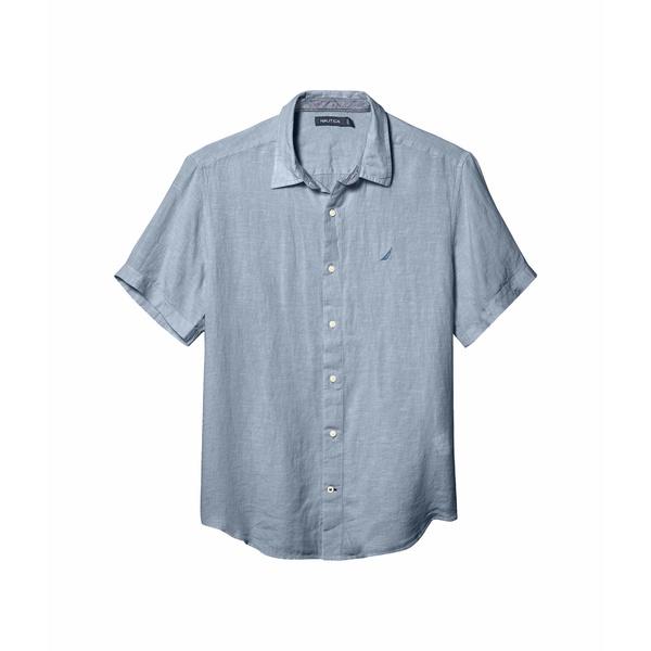 ナウティカ メンズ シャツ トップス Short Sleeve Solid Linen Shirt Blue 1