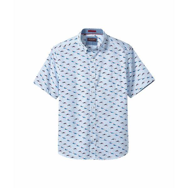 ジョンストンアンドマーフィー メンズ シャツ トップス Short Sleeve Shark Print White