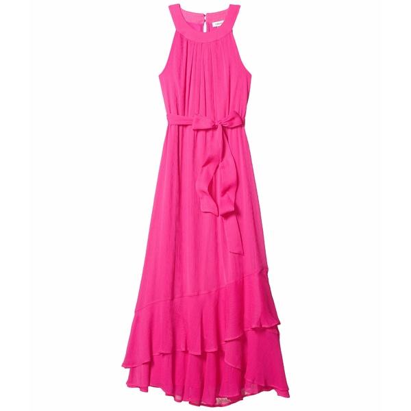 カルバンクライン レディース ワンピース トップス Belted Halter Neck Chiffon Dress with Ruffle Hem Shocking Pink