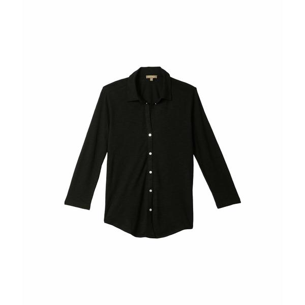 リラピー レディース シャツ トップス 3/4 Sleeve Button-Down Top in Flame Modal Black