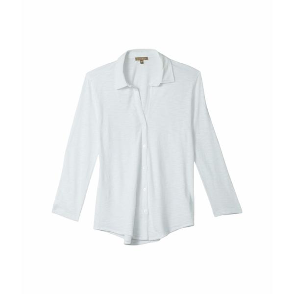 リラピー レディース シャツ トップス 3/4 Sleeve Button-Down Top in Flame Modal White