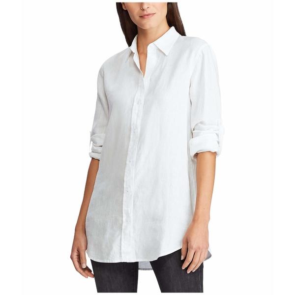 ラルフローレン レディース シャツ トップス Roll-Tab-Sleeve Linen Shirt White