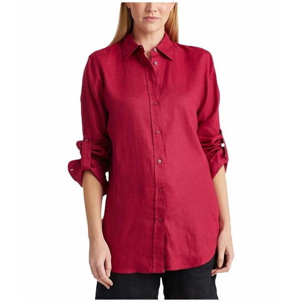 ラルフローレン レディース シャツ トップス Roll-Tab-Sleeve Linen Shirt Bright Fuchsia