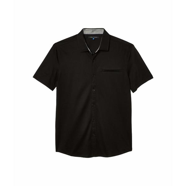 ヴィンスカムート メンズ シャツ トップス Short Sleeve Sport Shirt with Hacking Pocket Black Solid
