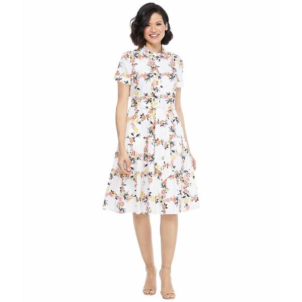 マギーロンドン レディース ワンピース トップス Floral Grid Shirtdress with Waist Tie Soft White/Peach