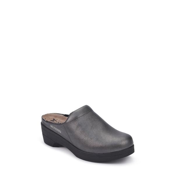 メフィスト レディース サンダル シューズ Satty Clog Mule Graphite Leather