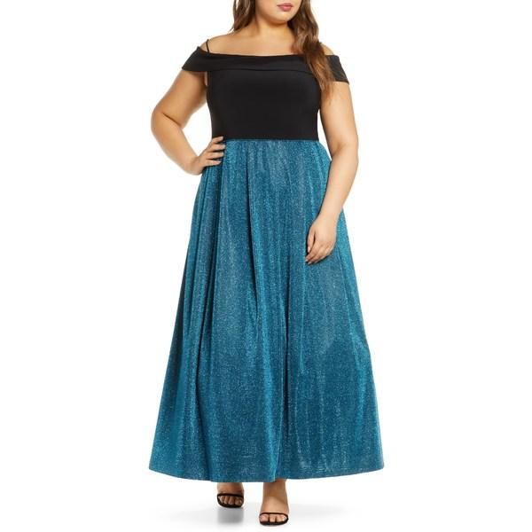 モーガン レディース ワンピース トップス Shimmer Pleat Cold Shoulder Gown Black/ Azure