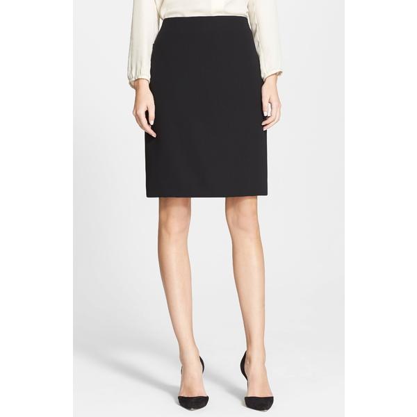 アクリス レディース スカート ボトムス Double Face Wool Pencil Skirt Black