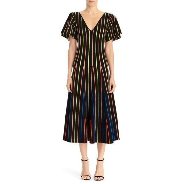 キャロライナヘレラ レディース ワンピース トップス Flutter Sleeve Fit & Flare Midi Dress Black Multi