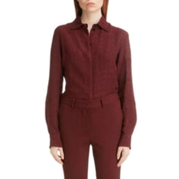 ヴィクトリア ベッカム レディース シャツ トップス Slim Fit CloquJacquard Shirt Bordeaux