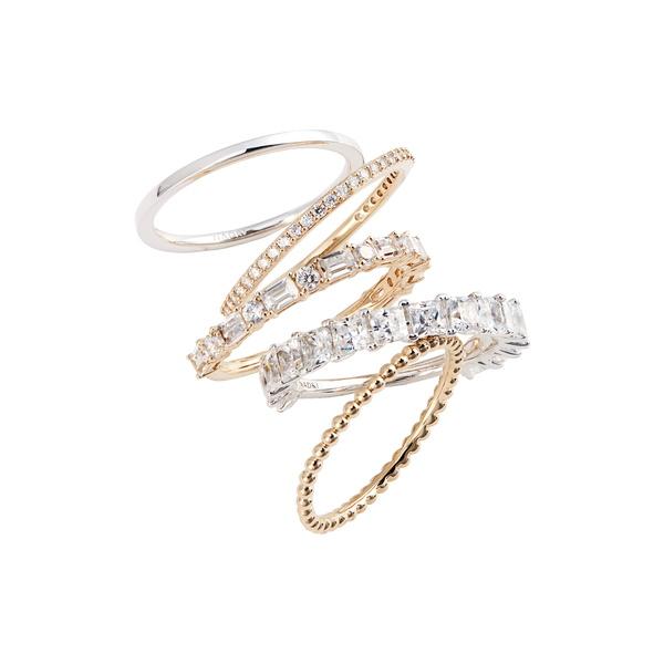 ナディール レディース リング アクセサリー Set of 5 Stacking Rings Rhodium/ Gold