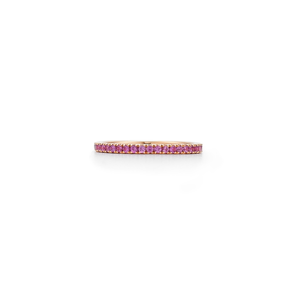 クィア レディース リング アクセサリー Pink Sapphire Stackable Ring Rose Gold