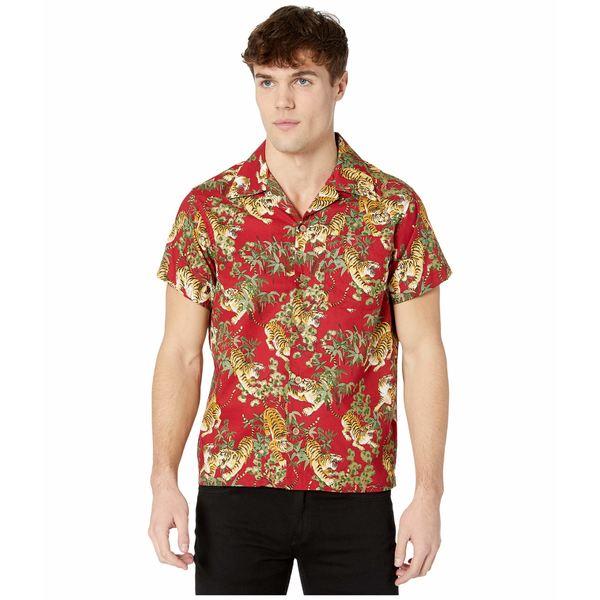 ナイキッドアンドフェイマス メンズ シャツ トップス Aloha Shirt Japanese Tigers/Red