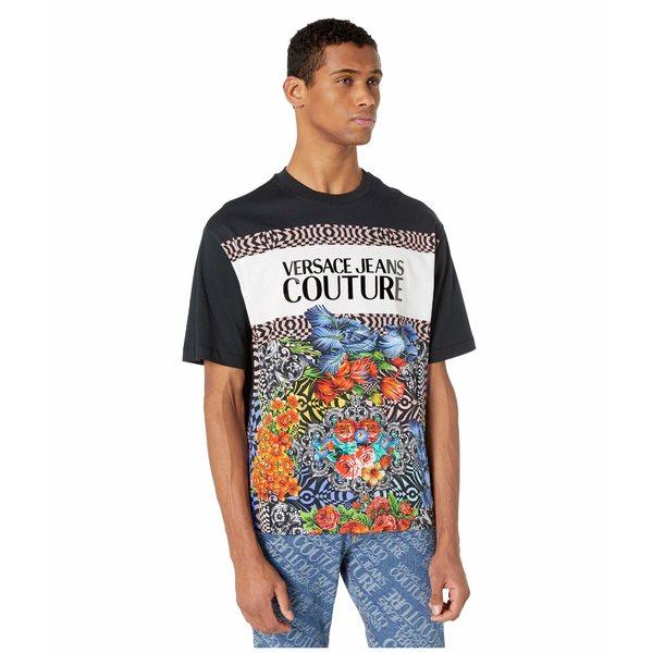 ベルサーチ メンズ シャツ トップス Oversized Optical Flower Print Logo T-Shirt Black