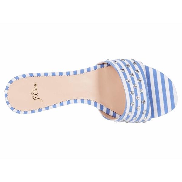ジェイクルー レディース ヒール シューズ Flora Slide Stripe wStuds Blue WhitelKF1c3TJ
