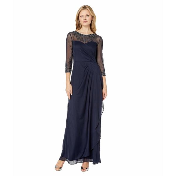アレックスイブニングス レディース ワンピース トップス Long A-Line Dress with Beaded Sweetheart Illusion Neckline Dark Navy