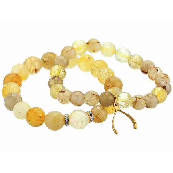 ディーバークレイ レディース ブレスレット・バングル・アンクレット アクセサリー Rutilated Quartz Good Luck Beaded Bracelet Set Yellow