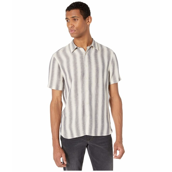 ヴィンス メンズ シャツ トップス Shadow Stripe Short Sleeve Button-Down Sail/Coastal