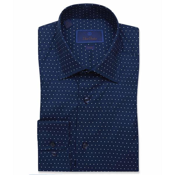 デイビッドドナヒュー メンズ シャツ トップス Trim Fit Multi Dot Dress Shirt Navy/Sky