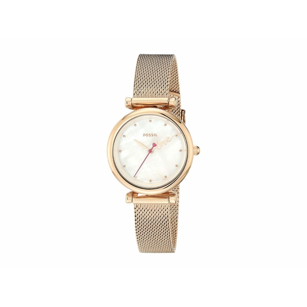 フォッシル レディース 腕時計 アクセサリー Carlie Mini Three-Hand Stainless Steel Watch ES4828 Rose Gold Stainless Steel Mesh