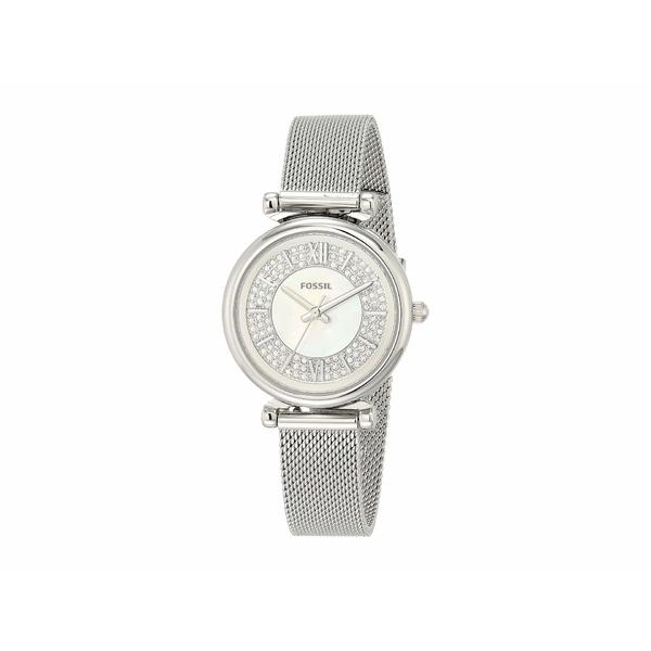フォッシル レディース 腕時計 アクセサリー Carlie Mini Three-Hand Stainless Steel Watch ES4837 Silver Stainless Steel Mesh