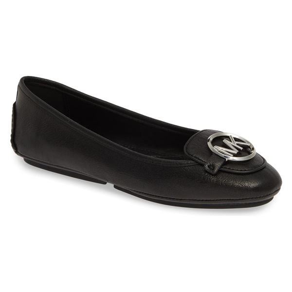 マイケルコース レディース サンダル シューズ MICHAEL Michael Kors Lillie Logo Ballet Flat (Women) Black Leather/ Silver Logo