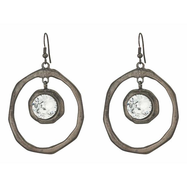 ケネスジェイレーン レディース ピアス&イヤリング アクセサリー Large Hoop Drop Fishhook Earrings Polished Gunmetal/Crystal