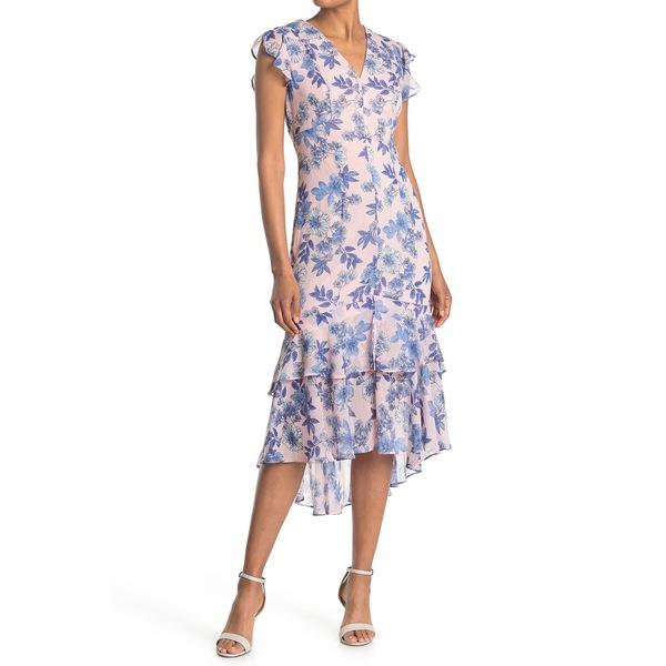 トミー ヒルフィガー レディース トップス ワンピース 交換無料 バーゲンセール BAL PNK ML Dress Low Floral Chiffon High 全商品無料サイズ交換 Ruffled