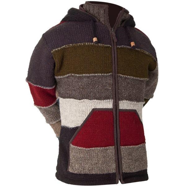 永遠の定番モデル ランドロマット メンズ アウター ニットセーター ストア Black - Sweater Patchwork Men's 全商品無料サイズ交換