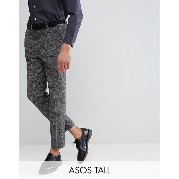 エイソス メンズ カジュアルパンツ ボトムス ASOS TALL Drop Crotch Tapered Smart Trousers In Charcoal Texture Charcoal