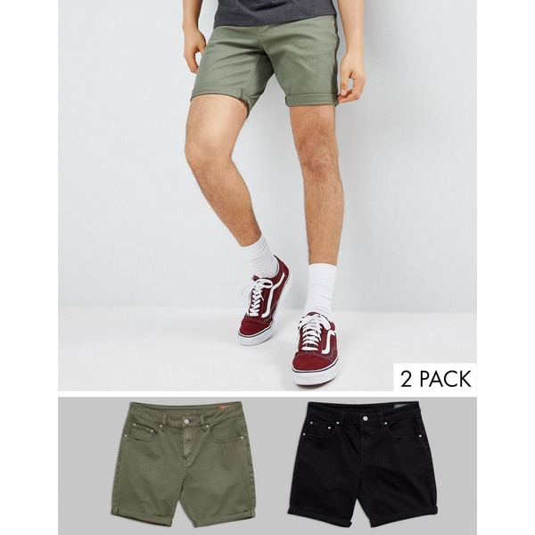 エイソス メンズ ハーフ&ショーツ ボトムス ASOS DESIGN Denim Shorts In Slim Black And Green Black / green