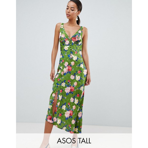 エイソス トール レディース ワンピース トップス ASOS DESIGN Tall button through floral midi jacquard slip dress Multi