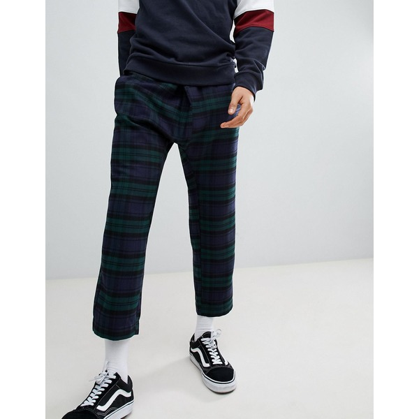 エイソス メンズ カジュアルパンツ ボトムス ASOS DESIGN Tapered Trousers In Check With Asymmetric Front Navy