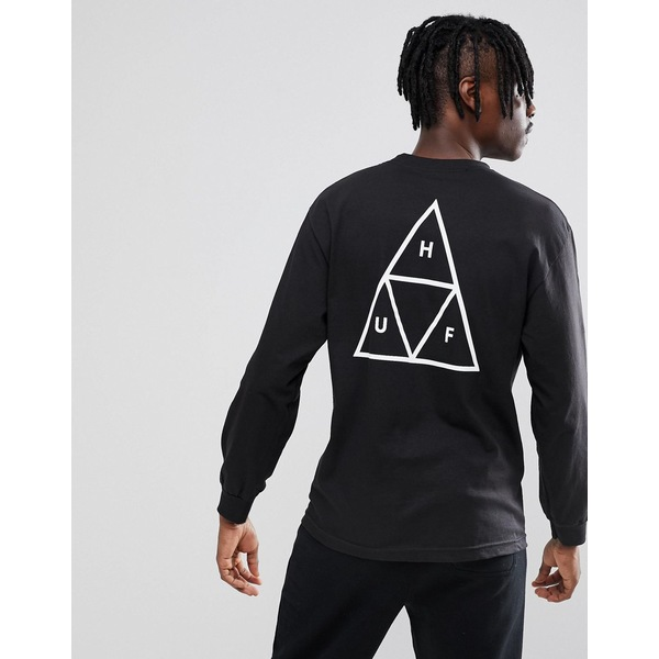ハフ メンズ Tシャツ トップス HUF triple triangle long sleeve t-shirt in black Black
