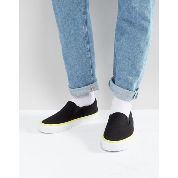 エイソス メンズ スニーカー シューズ ASOS Slip On Plimsolls In Black With Neon Flash Black