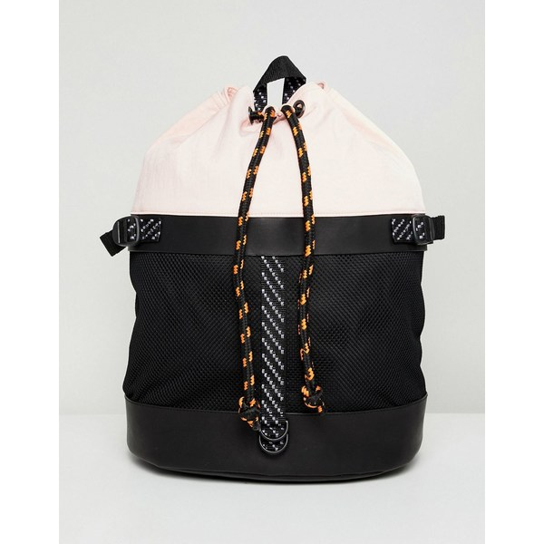 エイソス メンズ バックパック・リュックサック バッグ ASOS DESIGN duffel backpack in pink and black mesh with internal laptop pouch Black