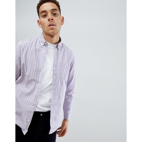 カーハート メンズ シャツ トップス Carhartt WIP Leland striped shirt in purple Purple