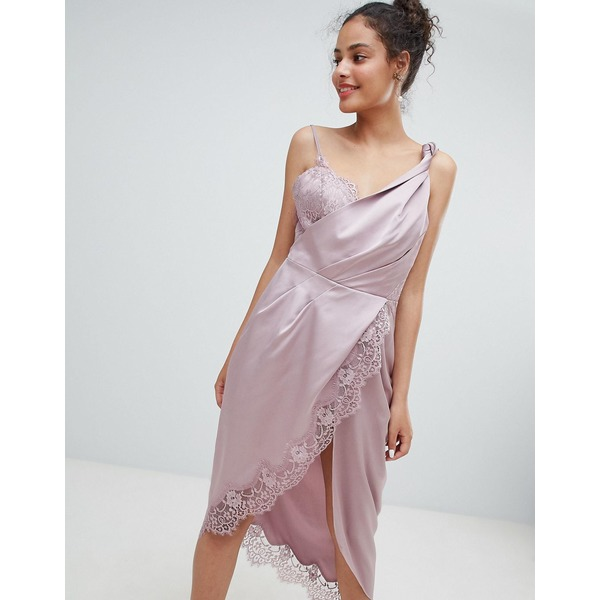 エイソス レディース ワンピース トップス ASOS DESIGN knot detail satin lace insert midi dress Dusty pink