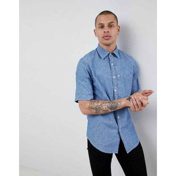 ジースター メンズ シャツ トップス G-Star Bristum short sleeve denim shirt Blue