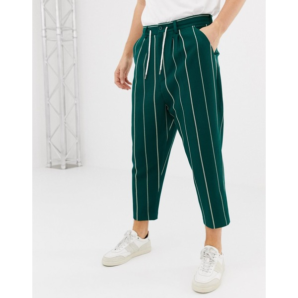 エイソス メンズ カジュアルパンツ ボトムス ASOS DESIGN drop crotch tapered smart trousers in green stripe waffle Green