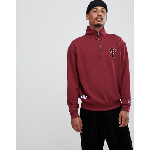 ニューエラ メンズ パーカー・スウェットシャツ アウター New Era MLB Philadelphia Phillies 1/4 Zip Sweatshirt With Embroidered Logo In Burgundy Burgundy