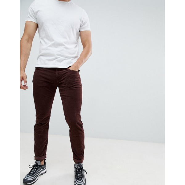 リプレイ メンズ デニムパンツ ボトムス Replay Anbass slim stretch corduroy jeans in burgundy Burgundy
