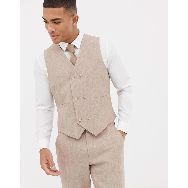 エイソス メンズ ベスト トップス ASOS DESIGN wedding slim suit waistcoat in camel cross hatch Camel