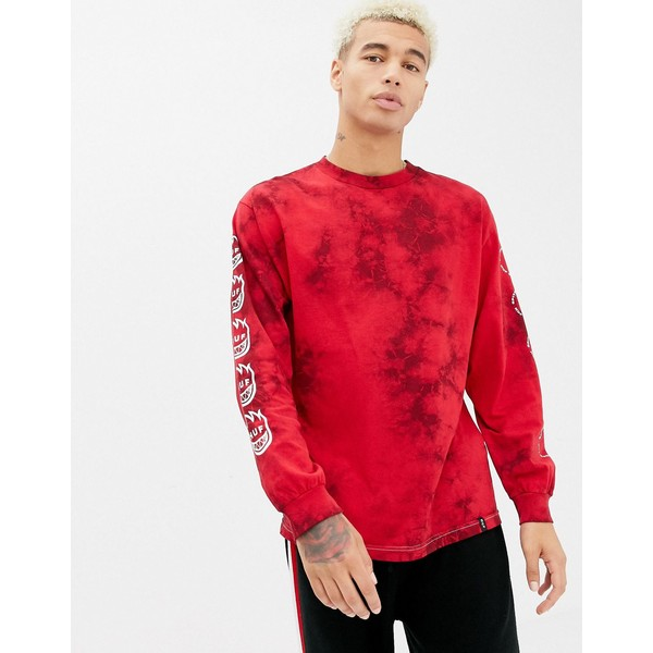 ハフ メンズ Tシャツ トップス HUF x Spitfire Crystal Wash Long Sleeve T-Shirt With Repeat Back Print In Red Red