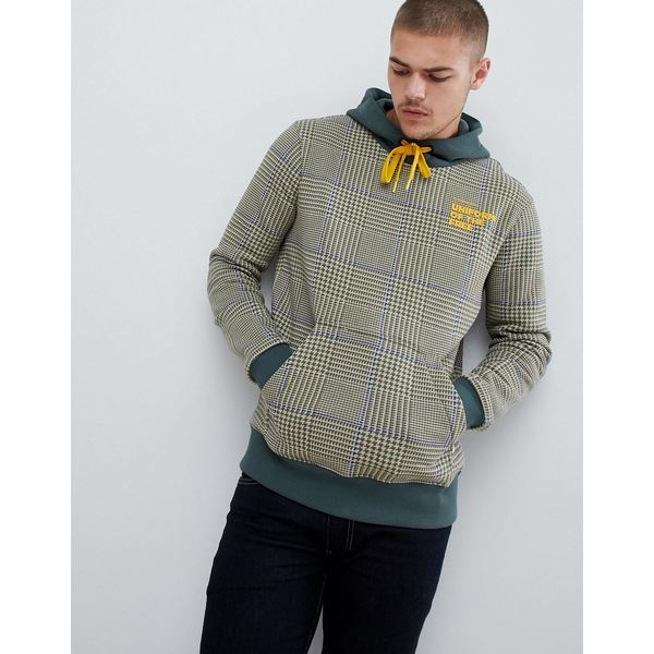 ジースター メンズ パーカー・スウェットシャツ アウター G-Star uniform of the free check hoodie in green Kit/bright rovic gre