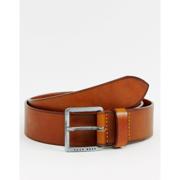 ボス メンズ ベルト アクセサリー BOSS Jeeko logo buckle leather belt in tan Tan