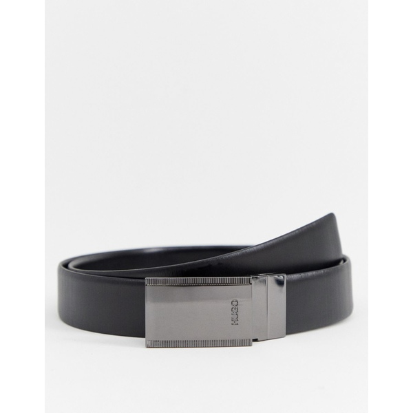 フューゴ メンズ ベルト アクセサリー HUGO Grad-g reversible dual buckle belt gift box in black Black